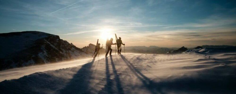 skiers hiking